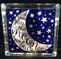 "Glass Block Night Light ""I Love You To The Moon And Back Again"" Home Decoration - pinned by pin4etsy.com"