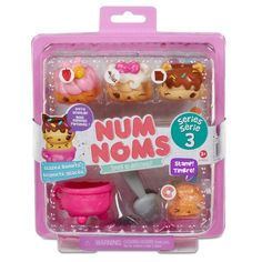 Num Noms Series 3 Donut Starter Pack is great for adding series 3 Num Noms to your collection. Scented Nums are adorable, squishy characters with tons of personality. The Nom is scented stamp! Stack the Nums on top of the Noms to make 1,200+ sweet scented combinations.