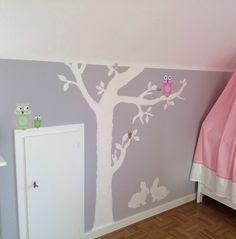 DIY - So einfach wird aus der langweiligen Kinderzimmerwand ein kleiner Hingucker der nicht nur die Kleinen begeistert... Einfach einen Baum mit weißer Acrylfarbe (normale Wandfarbe funktioniert auch) auf die Wand zeichnen - für diejenigen die sich das freihand nicht zutrauen, ist es hilfreich ihn mit Kreide vorzuzeichnen. Die süßen Eulen (im Bastelshop gekauft) aufkleben und die Lieblingstiere der Kleinen ergänzen - bei uns sind es die Hasen ;-)