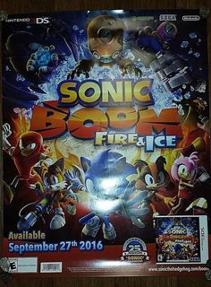 NINTENDO 3DS SONIC BOOM FIRE & ICE 25TH ANNIVERSARY SONIC HEDGEHOG POSTER #Nintendo
