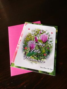 """Carte double """" Rose bonheur """" Bonne fête Maman 10x15cm Magnolia Flower, Peony Flower, Flowers, Most Beautiful Words, Rose, Overlays, My Photos, How To Look Better, Greeting Cards"""