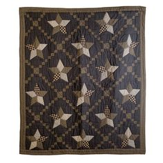 """The Farmhouse Star Throw features large 5-point stars bordered with Irish chain patchwork blocks and 100% cotton batting. Straight edge with .5"""" bias cut black and tan micro check fabric. Reverses to charcoal on dark creme ticking stripe fabric; 3.25"""" rod pocket.  Patchwork, hand quilted, and machine pieced. Stitch in the ditch with channel hand quilting along the border.  Size is 60"""" x 50""""."""