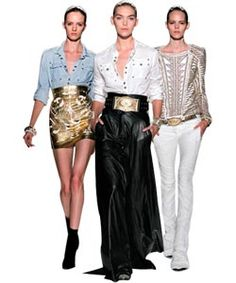 Balmain S/S12.  Love the skirt/denim shirt combo.