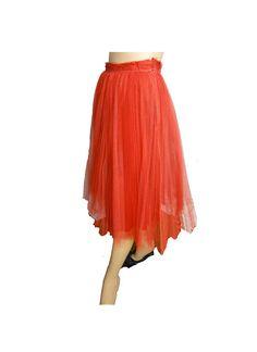 Vintage 50s Net Skirt Evening Skirt Red Tulle Petticoat Net