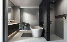 Modern bathroom design is luxury! They say that life is to be enjoyed, which is why there is no shame in adding a touch of modern luxury to your bathroom. Bathroom Ideas Uk, Modern Bathroom Tile, Modern Bathrooms Interior, Contemporary Bathroom Designs, Bathroom Trends, Simple Bathroom, Bathroom Layout, Bathroom Interior Design, Modern Design