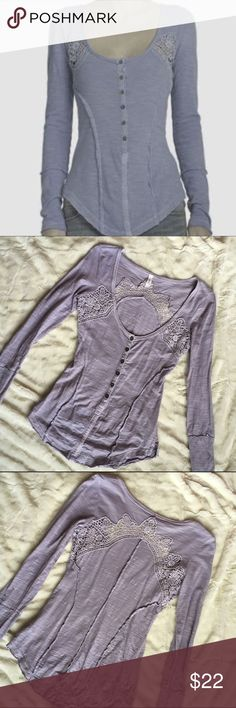 Free People Toosaloosa Keepsake Henley Free People Toosaloosa Keepsake slubbed henley in XS.  Raised seams and a raw hem lend an unfinished look, while lace crochet panels and a scoop neckline add flirty charm. Buttoned half placket. Color: Periwinkle Item is in EUC with one minor flaw. A pin hole located on back near collar. Price reflects flaw. In mint condition otherwise 😊.    Fabric: Slubbed Jersey 100% COTTON  👍🏼 SMOKE/PET FREE HOME  🌟SUPER RARE COLOR🌟 Free People Tops