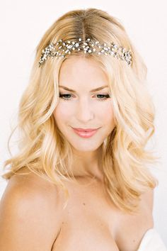 KENNEDY Headpiece- crown, halo, floral, bridal, rhinestone, crystal, veil, wedding, tiara, headpiece. $298.00, via Etsy.