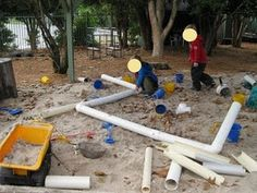 pvc pipes in the sandpit are always a favourite Outdoor Learning Spaces, Outdoor Play Areas, Outdoor Education, Outdoor Fun, Outdoor Ideas, Outdoor Spaces, Sand Play, Water Play, Sand Pits For Kids