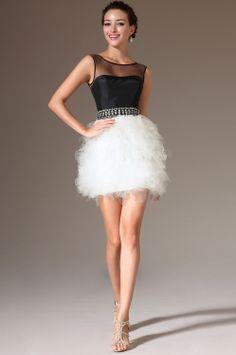 Black white evening dress