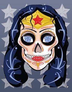 Wonder Woman Sugar Skull Print 11x14 print