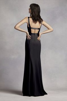 White by Vera Wang Long V Neck Bridesmaid Dress in Black at @DavidsBridal
