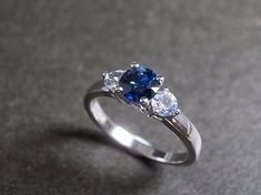 Blue Sapphire and White Sapphire in 14K White by honngaijewelry
