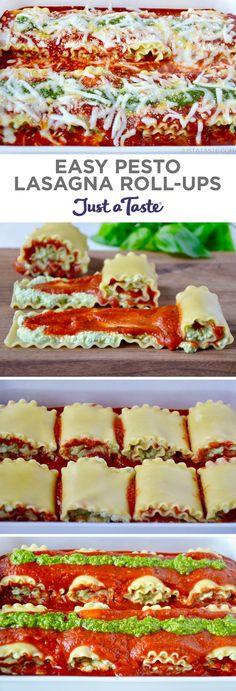 Easy Pesto Lasagna Roll-Ups recipe from justataste.com #recipe #easydinner #italianfood #dinnerrecipes