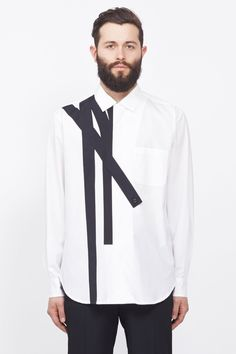 Yohji Yamamoto Linear Applique Shirt (White/black) Sport Fashion, Mens Fashion, Outfits Hombre, African Clothing For Men, Online Fashion Boutique, Yohji Yamamoto, Modest Fashion, African Fashion, Shirt Style