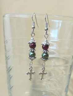 Handmade Double Pearl Dangle Earrings w/ Silver by Pizzelwaddels, $12.97
