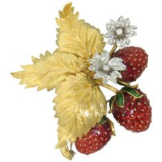 Impressive Mid-Century Enamel Diamond Gold Strawberry Brooch Clip Pin | From a unique collection of vintage brooches at https://www.1stdibs.com/jewelry/brooches/brooches/