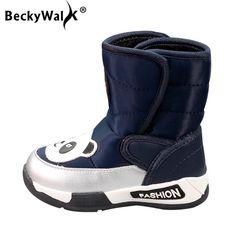 eb0a5e93b33f BeckyWalk 2018 New Cartoon Kids Snow Boots Waterproof Children Winter Boots  Boys Girls Warm Shoes Baby