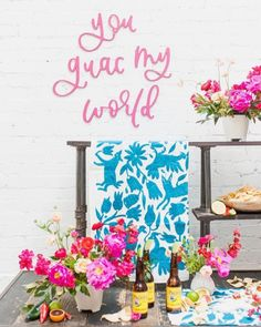 """Food display with pink sign that says 'You guac my world"""" {Corrie Mattson} Outdoor Dinnerware, Signature Cocktail, Wedding Signage, Wedding In The Woods, Reception Decorations, Birthday Parties, Birthday Celebrations, Neon Signs, Instagram"""