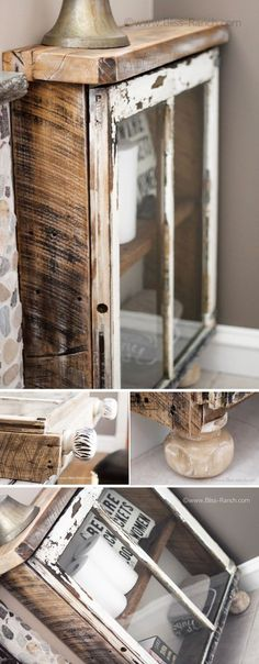 Wood Window Cabinet:I am going to show you 30 creative ways to repurpose old windows for your home.you will learn how you can bring in use old windows. Antique Windows, Wooden Windows, Vintage Windows, Old Windows, Reclaimed Windows, Diy Vintage, Vintage Industrial Decor, Furniture Making, Diy Furniture
