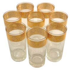 Culver Tyrol Gold Band Collins Glasses, The Hour Shop Vintage Cocktail Glassware, Barware, Wine Glass Sayings, Modern Home Bar, Antique Glassware, Drinking Glass, Gold Bands, Glasses, Mid Century