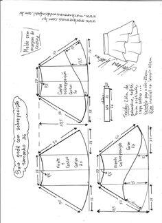 Esquema de modelagem de saia godê com sobreposição tamanho 36.