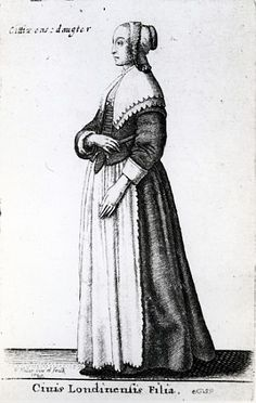London citizen's daughter - engraving by Hollar (mid 17th Century)