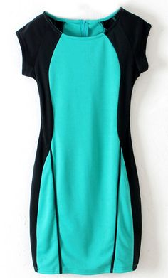 Black Contrast Green Panel Split Back Bodycon Knitting Dress 0.00