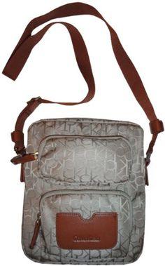 Women's Calvin Klein Purse Handbag Signature Logo Crossbody Khaki