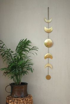 Moon Phases Wall Hanging Brass Full Moon Wall Decor by CarmelsArt