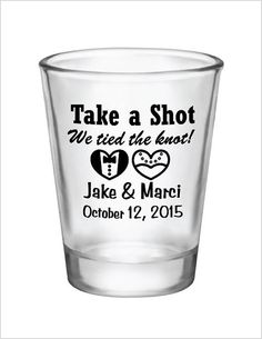 give your guests an elegant and useful favor product 15 oz glass shot glasses with a one color personalized bride groom hearts design for your wedding - Custom Shot Glass