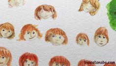 Desenvolvimento de personagem infantil por meio de esboços de aquarela e lápis de cor.