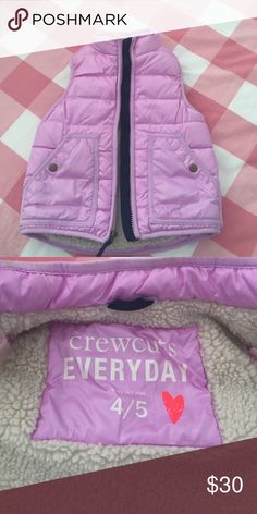 JCrew/Crewcuts lavender puffer vest, 4/5 Lavender shearling lined puffer vest. Navy grosgrain at zipper. Shows a little wear with faded coloring around the neck on the inside of the vest. J. Crew Jackets & Coats Vests