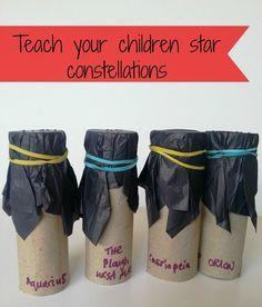 Teach children star constellations - star tubes