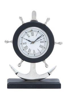Aluminum Anchor Clock by Nautical Living Decor