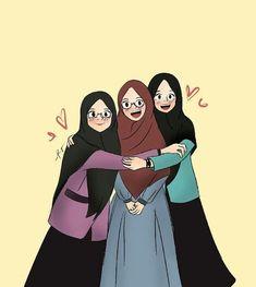 teman bahagia teman menuju surga - my ely Friend Cartoon, Friend Anime, Girl Cartoon, Cute Cartoon, Cartoon Kunst, Cartoon Art, Cartoon Images, Muslim Pictures, Hijab Drawing