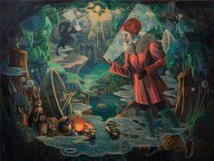 "Lori Nelson, "" Feedback Loop"", Oil on wood, resin finish, 2015"