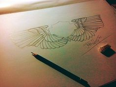 """""""American Wings"""" Pencil on paper A3 2015 Hand made by Yanas Kosel"""