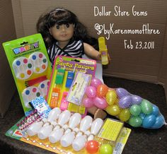 Brilliant!! Dollar store bday crap repurposed as #AmericanGirl doll sized items!!