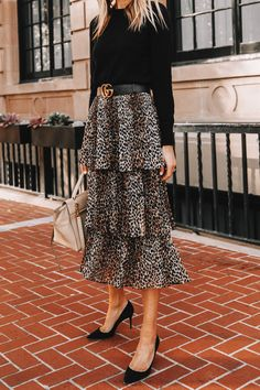 Fashion Jackson Wearing Black Sweater Topshop Leopard Tiered Midi Skirt Black Pumps Leopard Skirt Outfit, Black Skirt Outfits, Dressy Outfits, Black Ruffle Skirt, Black Midi Skirt, Leopard Fashion, Fashion Jackson, Topshop, Cold Weather Fashion