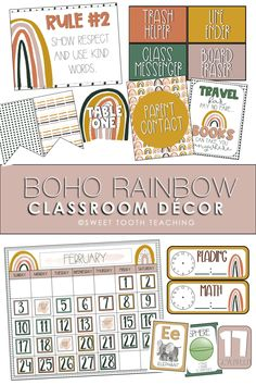 This Boho Rainbow classroom decor kit includes everything you need for a neutral colored elementary classroom! Includes welcome signs, classroom calendar, classroom jobs, table numbers, schedules, posters, and much more! Classroom Hacks, Classroom Decor Themes, Kindergarten Classroom, Future Classroom, Classroom Calendar, Math 5, Class Activities, Your Teacher, Getting To Know You