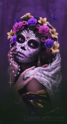 Dia De Los Muertos Poster by Cellesria /Tanya Varga - Digital Artist - X Sugar Skull Girl, Sugar Skull Makeup, Sugar Skulls, Mexican Skulls, Mexican Art, Day Of The Dead Skull, Sugar Skull Tattoos, Model Foto, Candy Skulls