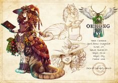 Caireanne - Scottish Wildcat taur - in Okhong #centaur #taurs #cat #witch #catgirl #taur #fantasy #art #adoptable #witchcraft #spellbook #modelsheet