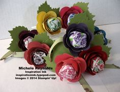 """Handmade lollipop flowers by Michele Reynolds, Inspiration Ink, using Stampin' Up! products - Spiral Flower Originals Die, Autumn Accents Bigz Die, 3/8"""" Taffeta Ribbon, and Glass Stampin' Glitter."""