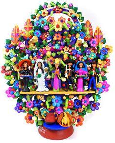 Spectacular Day of the Dead  Wedding folk art Arbol de la Vida  by  one of the Great Masters of Mexican Folk Art Oscar Soteno from Metepec, Mexico.
