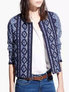 Navy Tribe And Geo Pattern Long Sleeve Coat