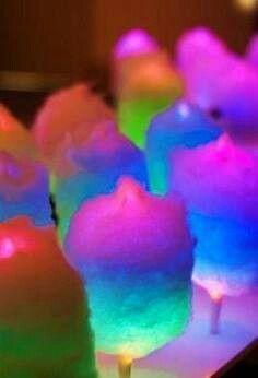 Cotton candy on a glow stick