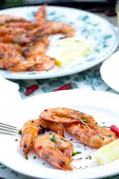 Spicy gamba's van de BBQ