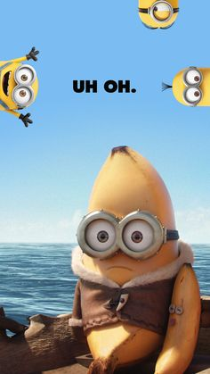 Fun Despicable Me Minions 2015 Blue Yellow Banana HD iPhone 6 Wallpaper