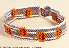 How can you not smile when wearing this peyote stitch beaded Halloween Cuff Bracelet? How to from Chris Franchetti Michaels at about.com.