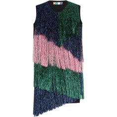 MSGM Fringed Virgin Wool Dress (352 AUD) ❤ liked on Polyvore featuring dresses, multicolor, slimming cocktail dresses, green dress, msgm dress, asymmetrical hem dress and green cocktail dress